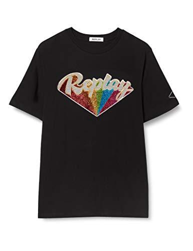REPLAY W3180h.000.20994 Camiseta, Negro (Black 98), X-Small para Mujer