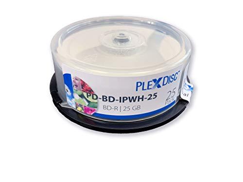 Plexdisc BD-R, 25 Piezas, 6x, 25GB, Blanco-Mate, inkjet