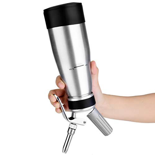 Emoshayoga Máquina dispensadora de Crema Dispensador de Crema Whipper Máquina de Soda Batidora de Crema de Aluminio Máquina de Soda de Aluminio Dispensador Whipper para Cocina Hogar
