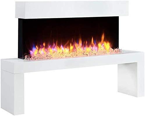 RICHEN Elektrokamin Kiana - Standkamin Mit Heizung, LED-Beleuchtung, 3D-Flammeneffekt & Fernbedienung - Weiß