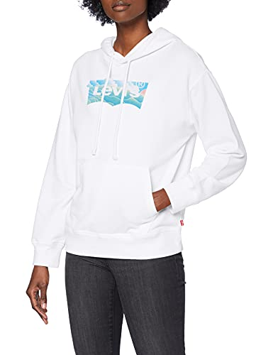 Levi's Graphic Standard Hoodie, Sudadera con Capucha BW Fill Clouds White +, L para Mujer