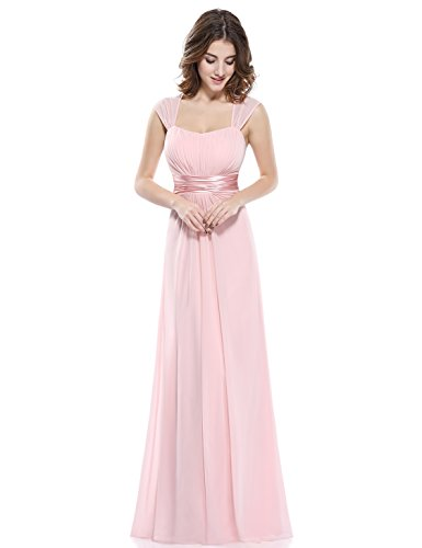 Ever-Pretty Vestido de Fiesta Noche Dama de Honor Mujer Largo Gasa Imperio Rosa...