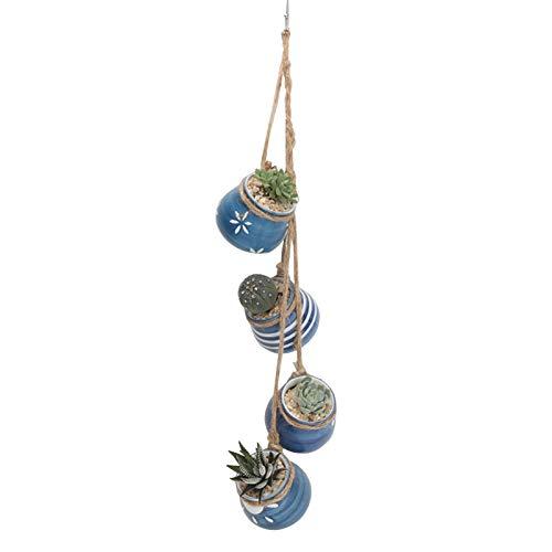 Mini Hängende Blumentöpfe,Keramikbecken Innenverzierung Hängetopf ,blumentopf Pflanzen Halter Aufhänger Pflanzenhalter Mini Keramik Blumenampel Zum Aufhängen Für Sukkulenten, Wanddekoration (Blau)