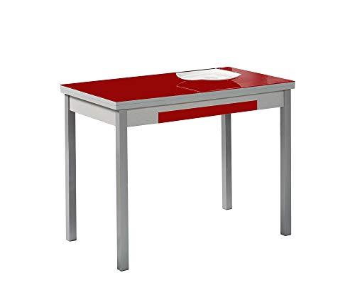 ASTIMESA Mesa de Cocina, Metal, Rojo, 90x50cm-extendida 140x50 cms