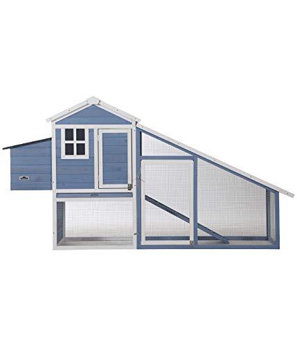 Dehner Hühnerstall Cottage,mit Freilaufgehege, ca. 221 x 77.5 x 116.9 cm, Tannenholz, lasiert, hellblau