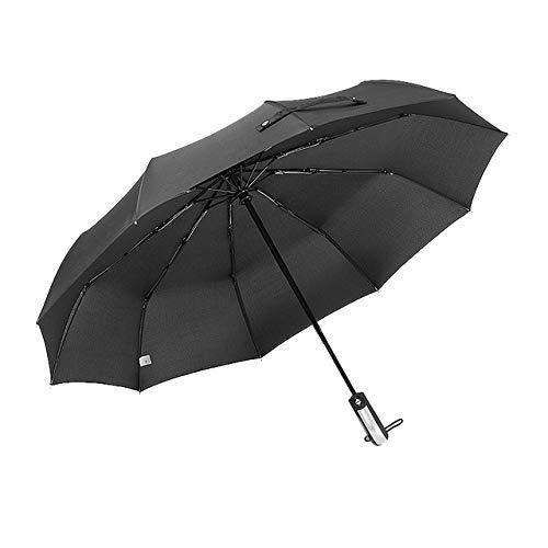 BDDLLM Paraguas Paraguas de Lluvia Plegable Resistente al Viento automático para Mujer Coches Grandes Paraguas a Prueba de Viento para Hombre Chaqueta Negra 10k para la Federación de Rusia 01