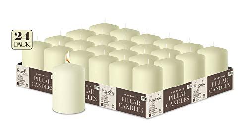 Hyoola Elfenbein Stumpenkerzen 50 X 76 mm - 24er Pack - 17 Stunden Brenndauer - Unparfümiert Groß Stumpen Kerzen