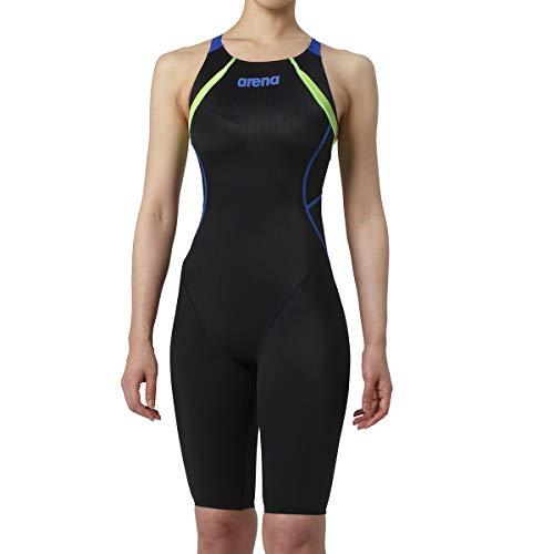 arena(アリーナ) トレーニング 競泳用 水着 ジュニア ハーフスパッツ クロスバック ARN-9030WJ ブラック × ブラック × Dブルー × グリンF × グリンF R130
