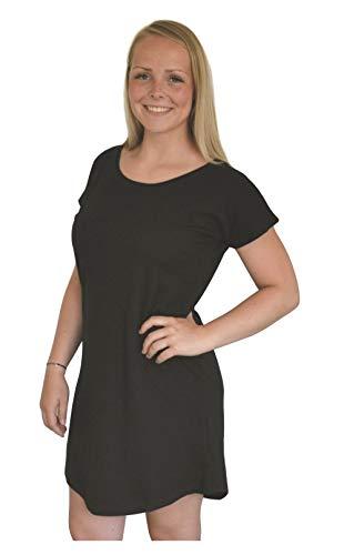 Green Cat Vestido para Mujer Loose Fit T Dress, 100% algodón orgánico y Certificado Oeko-Tex Negro XL