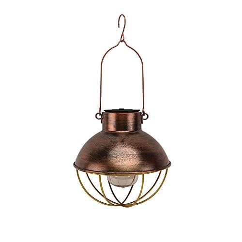 Yardwe Lámpara de lámpara de paisaje estilo retro con energía solar de hierro arte bombilla patio patio camino decoración del árbol para el hogar jardín