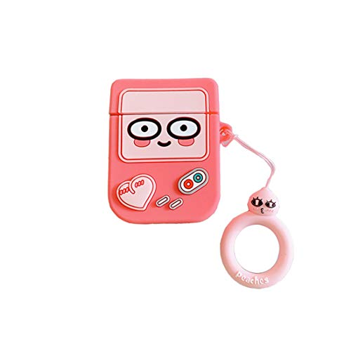 ZHYLIN Airpods Hoes Cartoon Game Console Case, Zachte Siliconen Fall Proof Cover Voor Aripods 1&2 Case, Airpods Accessoires, Paar Gift, airpods, roze