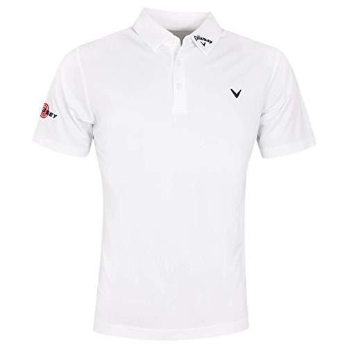 Callaway Golf 2020 Odyssey Birdseye Golf Poloshirt für Herren, weiche Haptik, Swing Tech Gr. S, bright white
