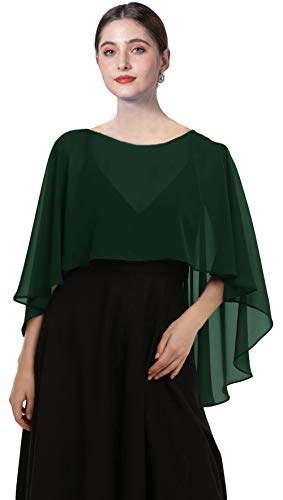 Chiffon Capes Soft Shawls and Wraps Capelets for Bridesmaid Wedding Formal Party Evening Dresses (Dark Green)