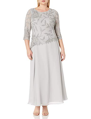 J Kara Women's Plus Size Long Scoop Neck Dress with 3/4 Sleeve Beaded Top, Silver/Multi, 20W