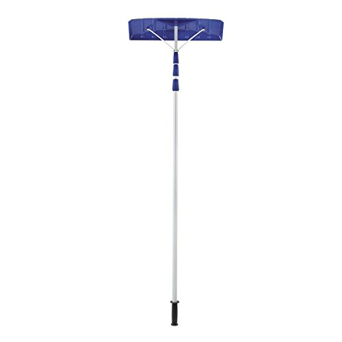 Snow Joe 21' Twist-n-Lock Telescoping Snow Shovel Roof Rake w/ 6' x 25' Poly Blade – RJ204M.