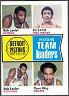1974 Topps Regular (Basketball) card#86 Pistons TL Lanier Lantz Bing of the Detroit Pistons Grade Excellent to Excellent Mint