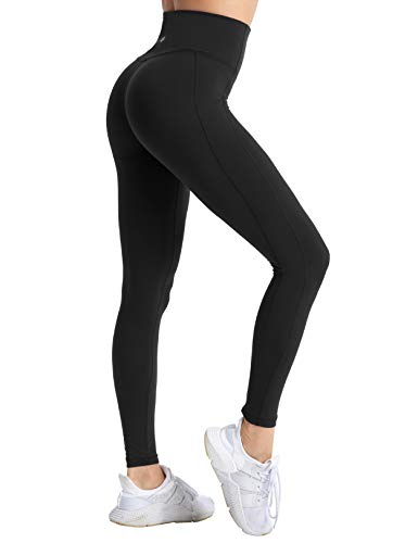 coastal rose Women's Yoga Pants Comfy Brushed 7/8 Length High Waisted Workout Leggings Tummy Control Sport Tights with Inner Pocket Black L