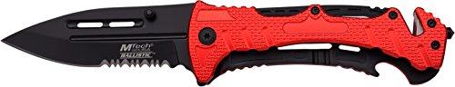 MTech USA Taschenmesser MT-A847 Serie, Messer ALU ROT AUFSATZ Griff, scharfes Jagdmesser, Outdoormesser 8,89 cm ROSTFREI Klinge Teilgezahnt, Klappmesser für Angeln/ Jagd