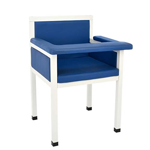 AdirMed Luxe Upholstered Blood Drawing Chair – Padded Phlebotomy Seat w/Adjustable Armrest & Steel Framing – Ideal for Hospitals & Medical Facilities (Blue)