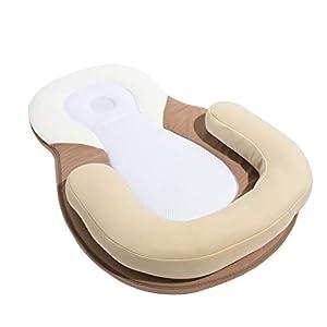 ECMLN Portable Baby Sleeping Mat Bed Pillow,Newborn Lounger Crib Mattress,Nursery Travel Folding Bed,Sweet Sleepy Dream Flat Head
