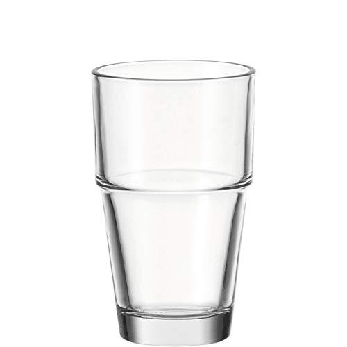 Leonardo Solo Trink-Glas, stapelbare Glas-Becher, spülmaschinengeeignetes Wasser-Glas, 6er Set, 370 ml, 043400