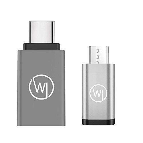 Wicked Chili USB C Adattatore to USB A (USB 3.2 Gen 1 SuperSpeed adattore USB + MicroUSB to USB C in Aluminum Adattatore Bundle Set di 2 adattatori compatibili con Smartphone, Tablet e Notebook