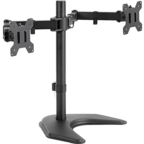 VIVO STAND-V002F Dual LED LCD Monitor Free-Standing Desk Stand for 2 Screens up to 27 Inch...