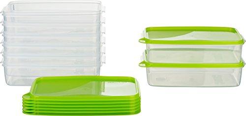 MiraHome Frischhaltedose Gefrierbehälter 1,5l rechteckig flach 23x15x6,5cm 8er Set grün Austrian Quality