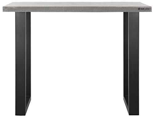 24Designs Himalaya Bartafel - 140x80x110 - Wit Granito - Zwart Metalen U-Poten