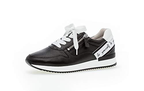 Gabor Damen Sneaker, Frauen Low-Top Sneaker,Best Fitting,Reißverschluss,Optifit- Wechselfußbett, Lady Ladies feminin,schwarz/Weiss,42 EU / 8 UK