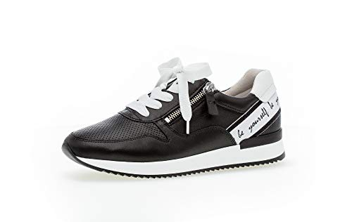 Gabor Damen Sneaker, Frauen Low-Top Sneaker,Best Fitting,Reißverschluss,Optifit- Wechselfußbett, Lady Ladies feminin,schwarz/Weiss,42 EU / 8 UK