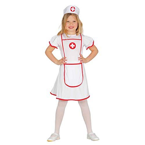 Guirca Krankenschwester Karneval Fasching Party Kostüm für Mädchen weiß rot Gr. 110-146, Größe:140/146
