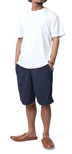 [スコーン ヴィンテージ] ルームウェア メンズ 上下セット パジャマ パイル 無地 半袖 セットアップ ハーフパンツ 部屋着 ホワイト M