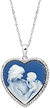 Sterling Silver Crystal Motherly Love Cameo Pendant
