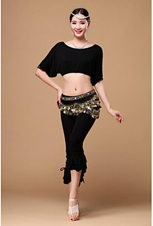 Dancewear Bauchtanz Austattungen Damen Training Viskose 3 Stück Kurze Ärmel Niedrig Top Hosen Hüfttuch, m B073FF6DLD  Freizeit