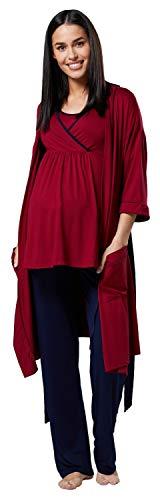 HAPPY MAMA Femme Maternité Ensemble Pyjama/Pantalon/Haut/Robe Chambre 558p (Cramoisi & Marine, 44, 2XL)