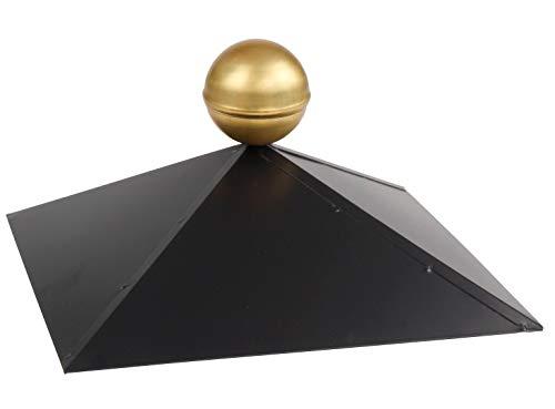 Pavillonhaube 4-Eck mit Messingkugel, Firsthaube schwarz matt