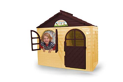 Jamara Little Home 460499 Speelhuis beige-van robuust kunststof, montage, stabiel steeksysteem, gemakkelijk te reinigen, geschikt voor binnen en buiten, deur/ramen laat openen, gordijnen
