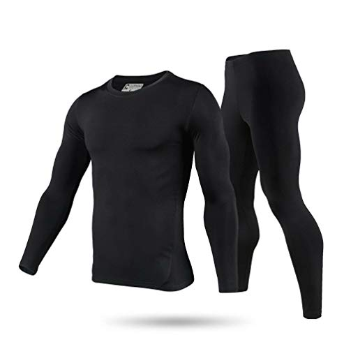 9M Men's Ultra Soft Thermal Underwear Base Layer Long Johns Set with Fleece Lined, Black, XL