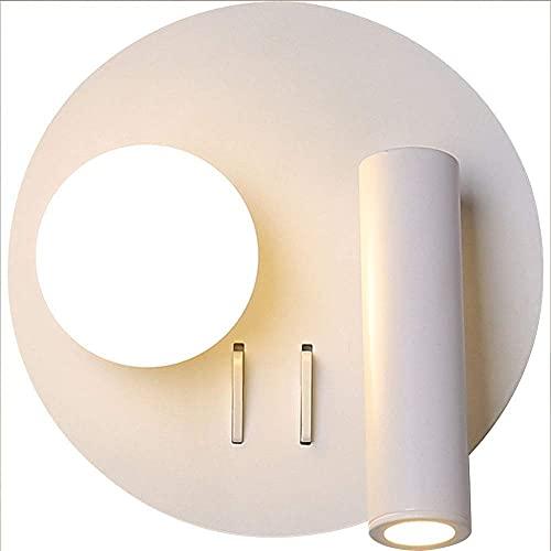 KDLAK Lámpara de pared moderna LED con interruptor doble, pantalla de acrílico redonda con luz ajustable, utilizada para la cabecera del dormitorio, sala de estar
