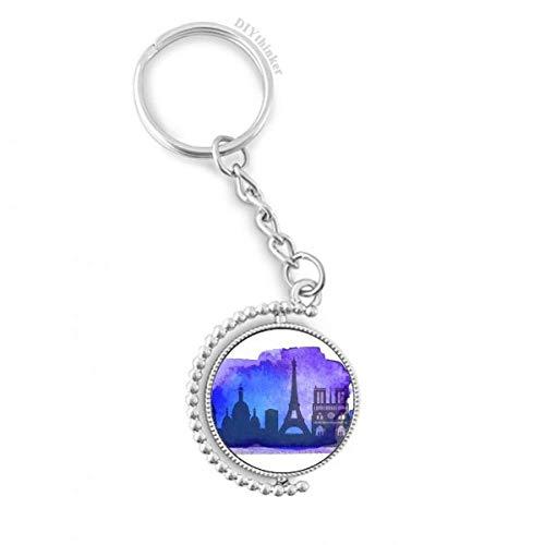 DIYthinker Men France Paris Eiffeltoren Blauw Aquarel Draaibare Sleutelhanger Ring Sleutelhouder 1,2 inch x 3,5 inch Multi kleuren
