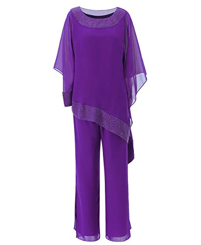 Zeattall Women's 3 Pieces Chiffon Mother of The Bride Dress with Jacket Pant Suits for Wedding(US20 Plus,Purple)