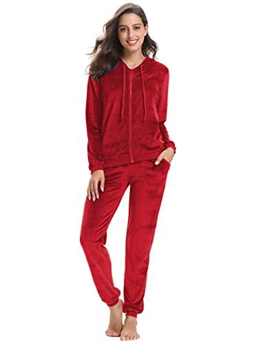 NB Chandal Mujer Completo Conjunto Chándal Terciopelo Chandal Invierno Sudadera con Capucha Cremallera Y Pantalón Conjunto Deportivo Sudadera Pijamas Terciopelo Rojo.XL