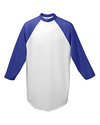 Augusta Sportswear Herren Baseball Trikot 2.0, Herren, Dreiviertel-Ärmel, Baseball Jersey 2.0, weiß/violett, Medium
