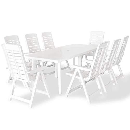 Qazxsw Juego de Comedor al Aire Libre, 9 Piezas, 210x96x72cm, Mesa de jardín Blanca, Silla Plegable