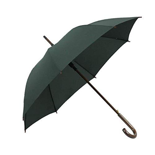 CHHD Garden Parasols, Holzgriff im klassischen Stil für Männer, abgewinkelter Griff, automatischer Langarmschirm, offen, Winddicht, Sonnencreme, langlebiges Äußeres, langlebig, Regenschirm