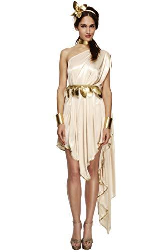 Fever 20561M Damen Göttin Kostüm, Kleid, Gürtel, Armmanschetten, Halsband und Haarreif, Transparent, Größe: M, 20561