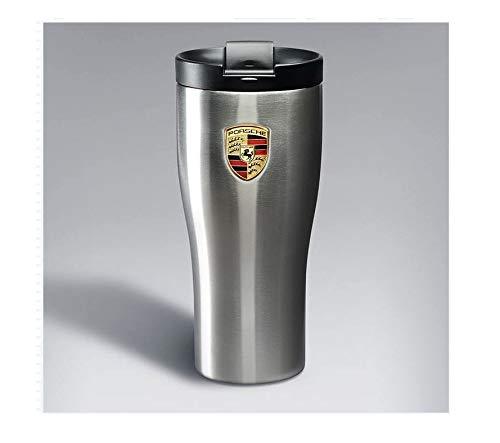 Thermobecher mit Porsche-Wappen, doppelwandig, Edelstahl