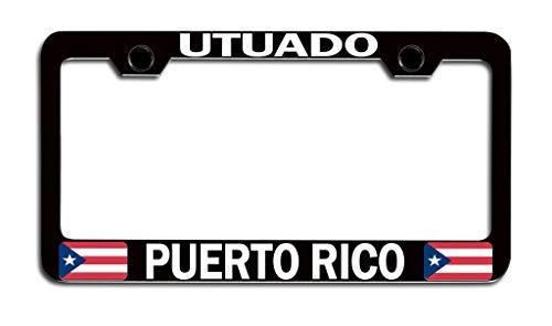 Makoroni - Utuado Puerto RICO! Puerto Rico Rican Black Steel Metal Heavy Duty Decorative License Plate Frame, License Tag Holder