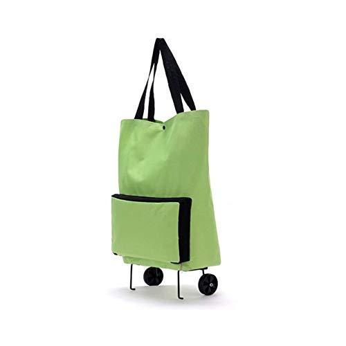 XINTONGSPP Foldable Shopping Tug Bag, Folding Cart/Multifunctional Wheel Bag, Roller Shopping Cart Luggage Bag, Green